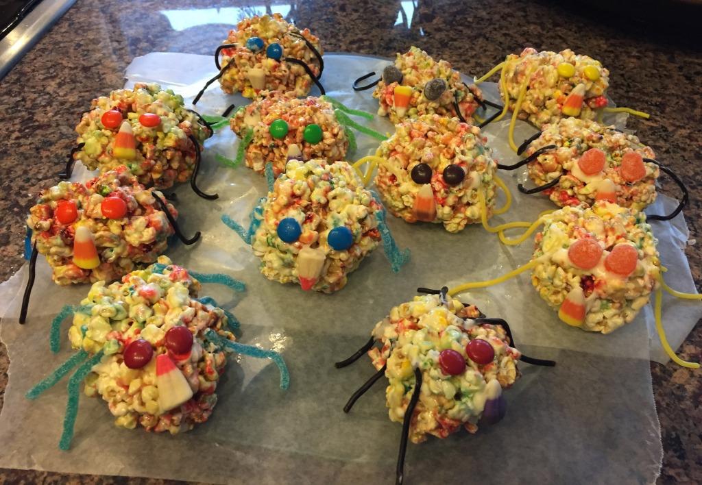 Halloween Party Treats Spider Popcorn Balls