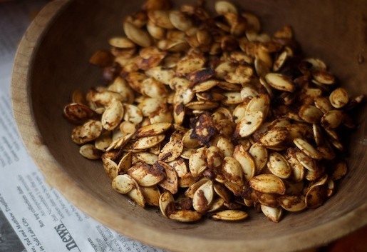 sophisticated pumpkin recipes - toasted pumpkin seeds for halloween or thanksgiving