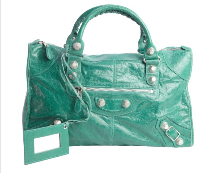 fall fashion trends - balenciaga emerald green vert giant hardware work bag