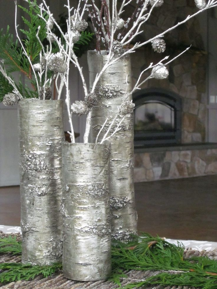 thanksgiving decorating ideas - metallic branches in vase from backyard