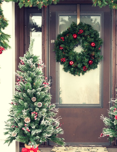 Outdoor Christmas Decoration Ideas - decorated potted trees
