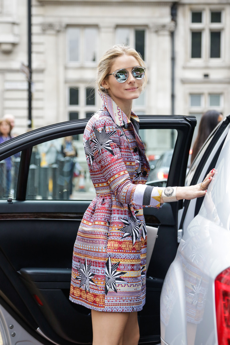 Photo Credit: Tumblr Images; Olivia Palermo is styling a jacquard coat in London for Spring/Summer 2015 Fashion Week.