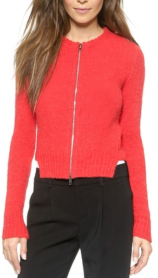 sweaters for  women red zippered sweater