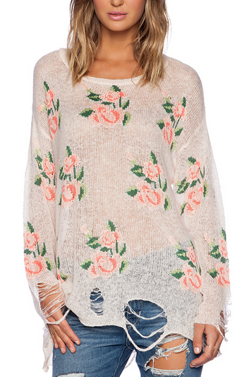 sweaters for women ripped floral print wildfox sweater
