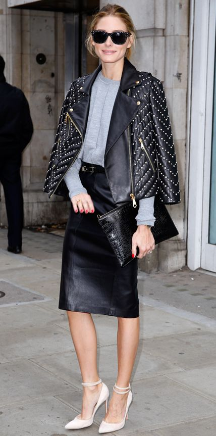 winter coats AND jackets for women - studded moto jacket - olivia palermo