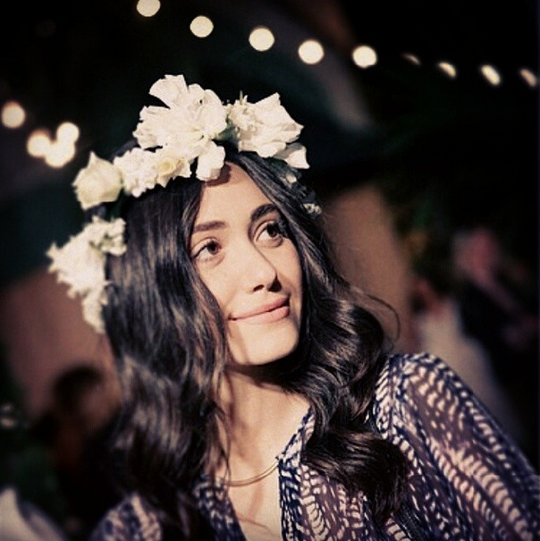 Emmy Rossum's Flower Crown Coachella Festival Clothing