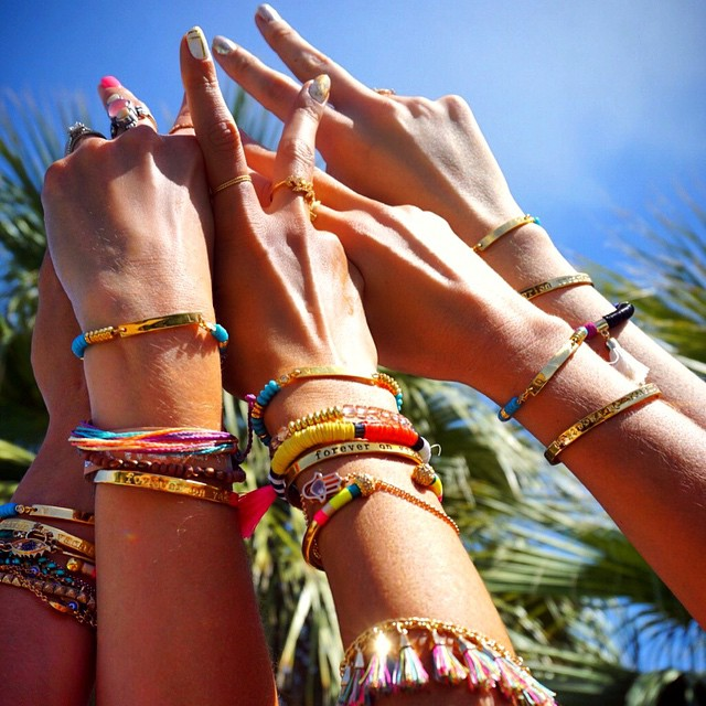 coachella fashion trends 2015 - alessandra ambrosio colored bracelets