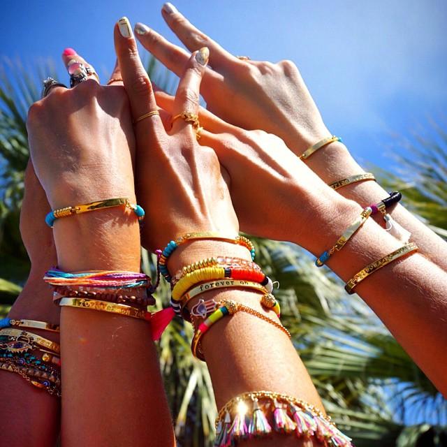 coachella fashion trends 2015 - alessandra ambrosio colored bracelets
