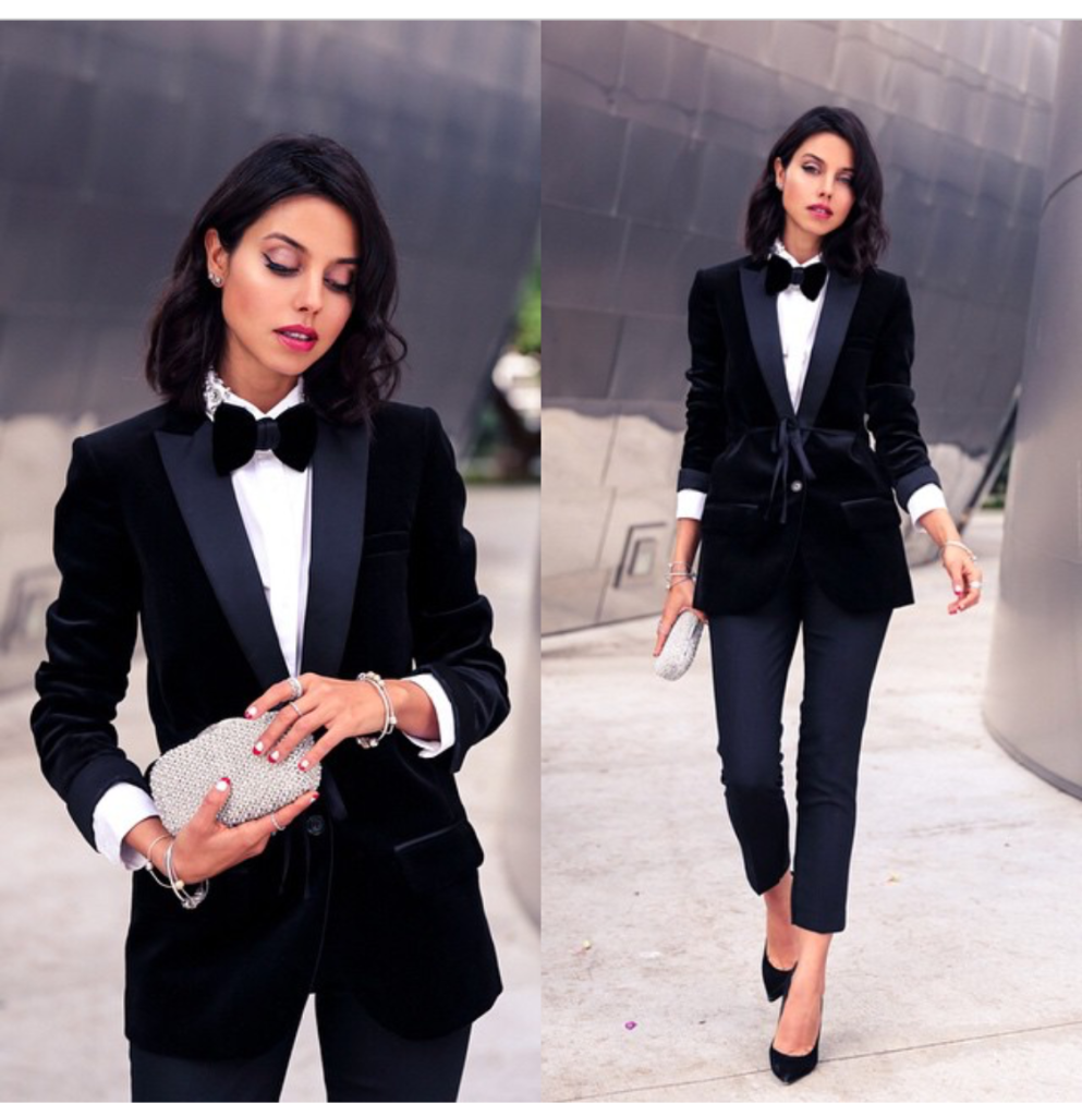 menswear inspired fashion trend - viva luxury blog wearing tuxedo and bowtie and stilettos