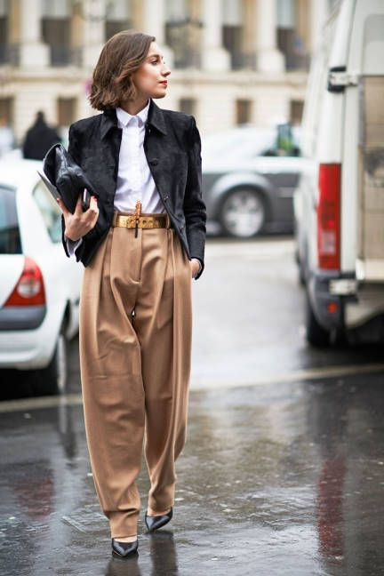 waist belt with menswear inspired trousers - spring 2015 trend