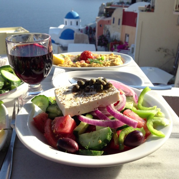 planning a eurotrip - feta salad in Greece Santorini