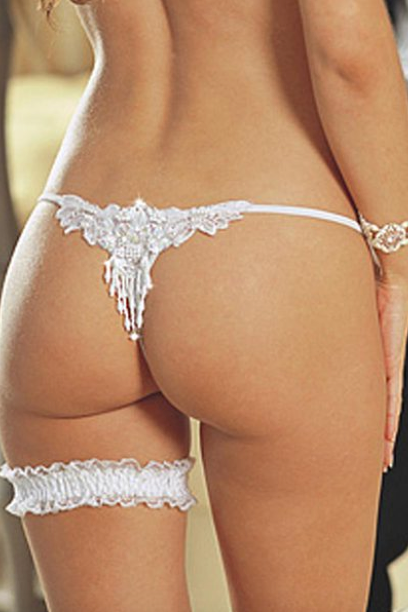 White Applique Bride Thong plus garter