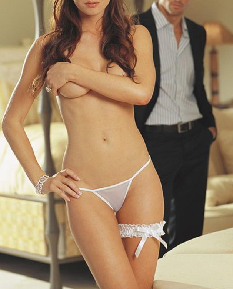 White Thong with Applique and Garter