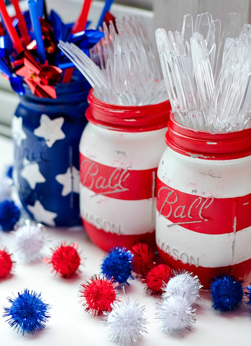 patriotic mason jars - red white and blue flag for july 4th