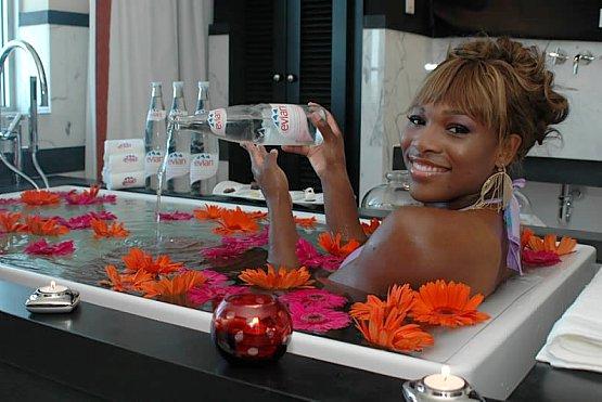 Serena Williams evian bath hotel victor evian spray