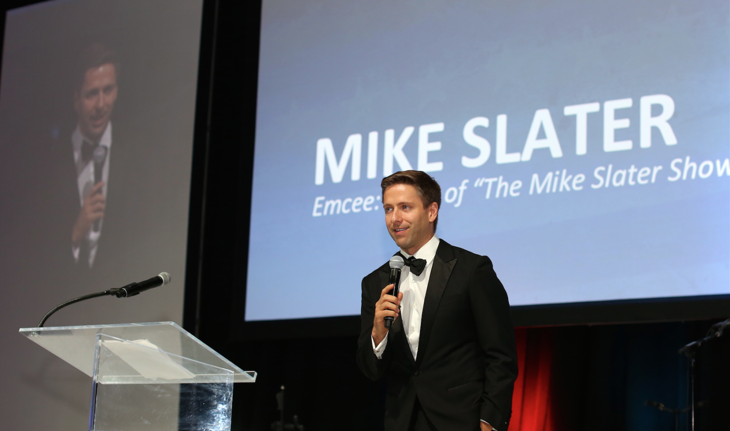 Mike Slater of the Mike Slater show was the emcee at Solutions For Change Gala at Jetsource