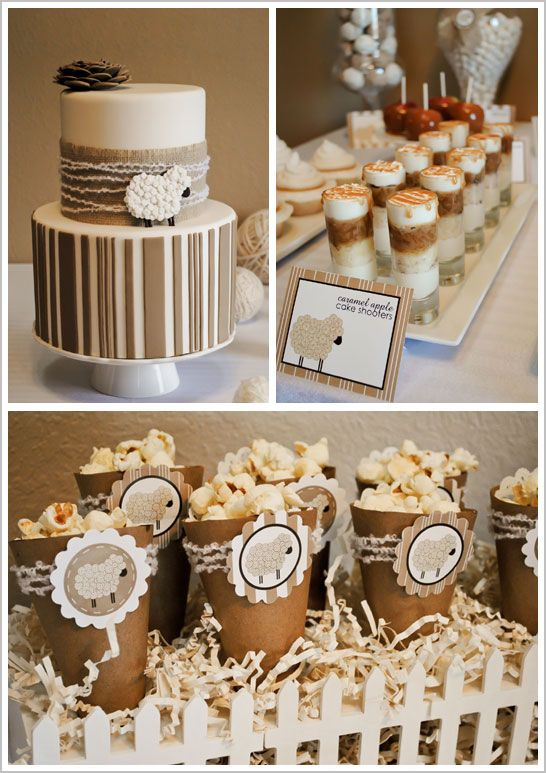neutral colored baby shower - winter baby shower ideas