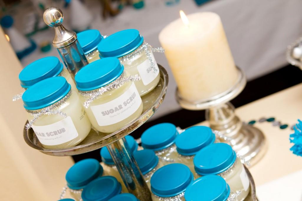 sugar scrub baby shower party favors in gerber jars