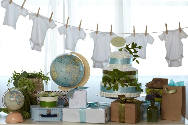 winter baby shower ideas - baby onesies clothesline
