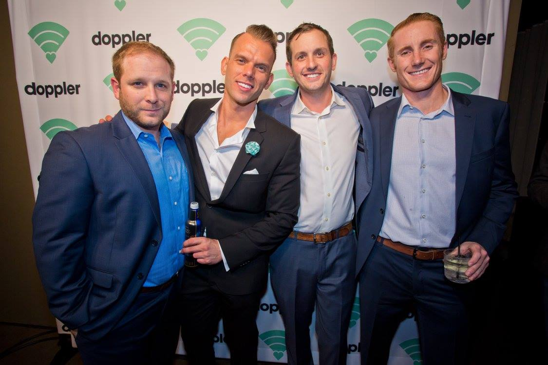 men at launch party