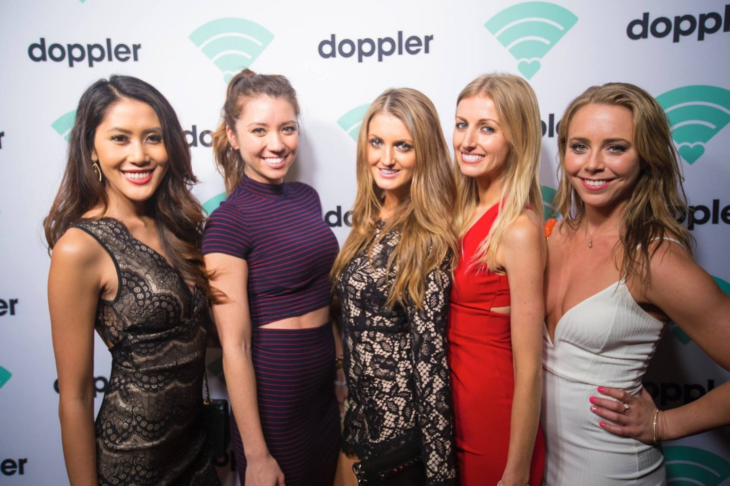 ladies on red carpet at launch party