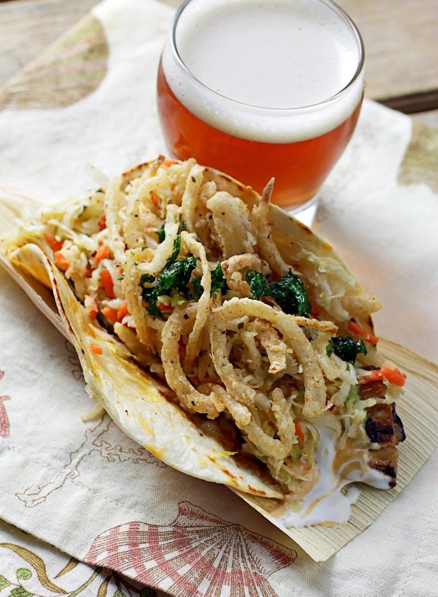 Sandbar fish taco with fried onions