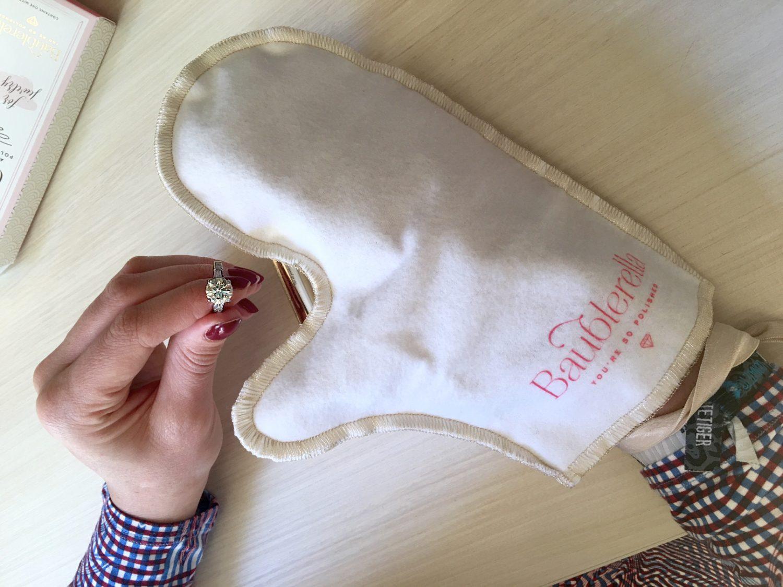 rub diamond ring with anti-tarnish polishing cloth
