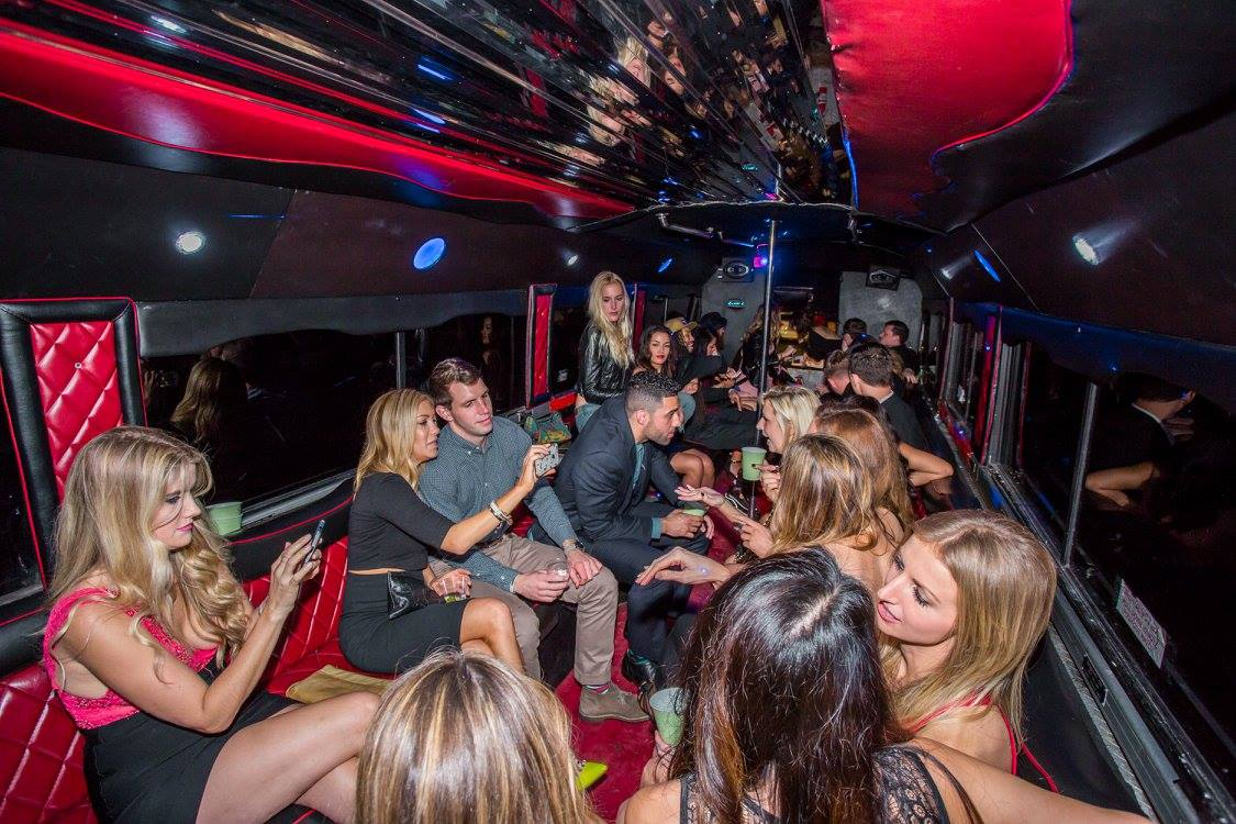 people in party bus luxury