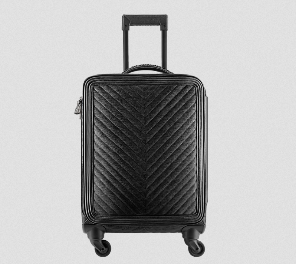 Chanel grained calfskin suitcase trolley in black