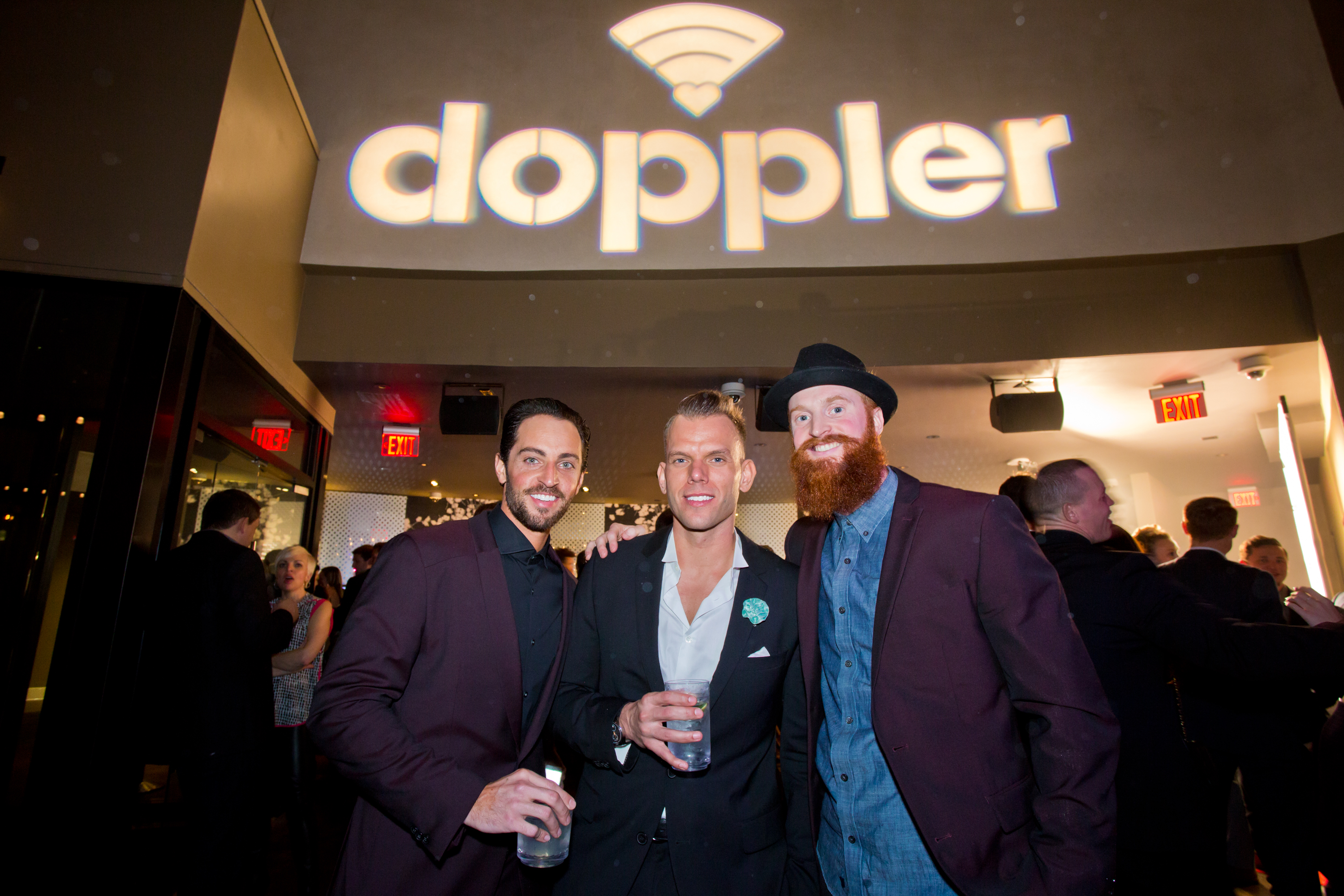 3 men at dating app launch party