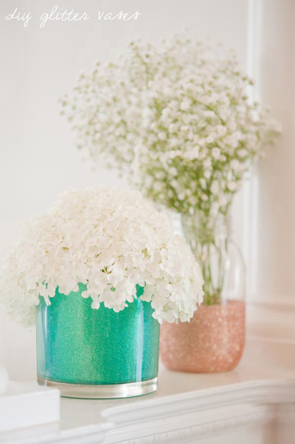 glitter vases for mothers day