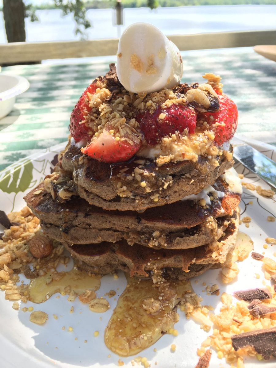 Gluten Free buckwheat pancakes made on summer glamping trip