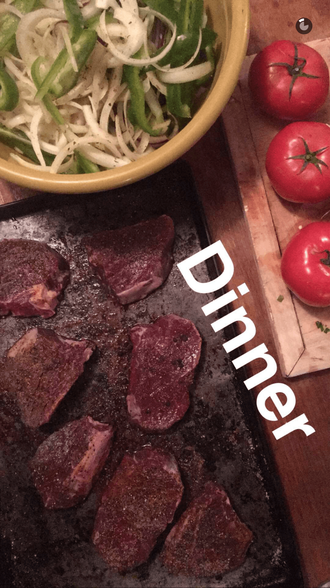 Making filet mignon with stir fried vegetables - caught on Snapchat > nubry